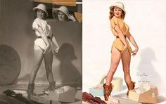 20 classic Pin-Up Girls Before and After...Oh Gil Elvgren...I do adore your work!