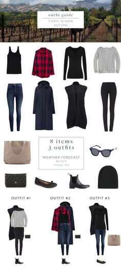 A casual and carry-on only packing list for a fall weekend in Napa Valley, featuring essentials from Cuyana, Everlane, and Old Navy.