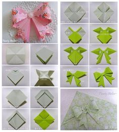 origami bows - I'll pin this for next xmas, but never have the patience to actually try it :p
