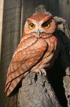 Eastern Screech Owl Wood Carving