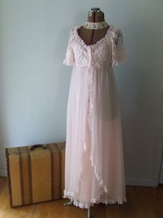 Vintage Tosca Lingerie Pink Chiffon Peignoir Set Gown Long Fluffy Lace ~ & yes, I know its a night gown :o/ but this is still the style jacket I want...maybe we can make a pattern...