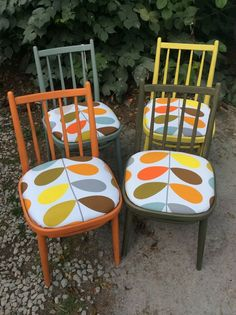 Marvelous Set Of 4 Dining Chairs In Annie Sloan U0026 Orla Kiely Seats
