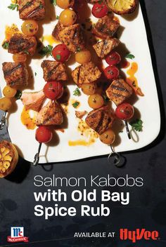 Fall grilling meets the best of summer flavors in these quick and easy kabobs. In less than 30 minutes, you can put a flavor-packed healthy salmon dinner on the table. Find everything you need for your favorite grilled recipes at your local Hy-Vee, or shop online at Hy-Vee.com.