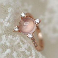 2016 New Designer Rose Quartz Star Silver Ring in Rose Gold