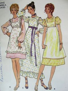 My mom made this for us as bridesmaids in my sisters wedding in '72.  Baby blue and pale pink gingham with white dotted swiss pinafores.....so cute!!! 1970s  PATTERN  BUTTERICK 6135