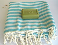 mother's day gift, Best Quality Turkish Towel, Peshtemal, Beach towel, bath towel, hammam towel, yoga, Spa, Sarong, Pareo, Aqua Striped by theanatolian. Explore more products on http://theanatolian.etsy.com