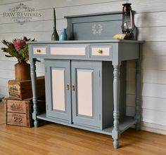 Cream Hall Table vintage hall table painted in mineral fusion paint 'homestead blue