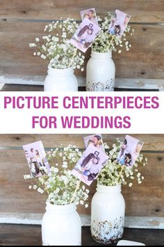 A great way to add some personality to your wedding or any party! Make these centerpieces with pictures! #wedding #picture #centerpiece #party #shower Picture Centerpieces, Simple Wedding Centerpieces, Wedding Decorations, Diy Wedding Crafts, Wedding Ideas, Craft Room Decor, Diy Home Decor Bedroom, Diy Bathroom Decor, Diy Crafts Videos