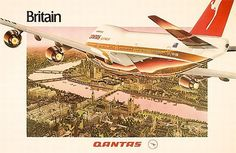 Qantas travel poster 'Britain. Qantas' (bird's eye View of… - Prints - Posters - Art - Carter's Price Guide to Antiques and Collectables