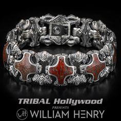 Jewelry Men William Henry Red Brown DINOSAUR BONE SHIELD Silver Mens Bracelet - This exotic William Henry men's bracelet boasts rare year-old red brown dinosaur bone fossils set in beefy cross-shaped links of sterling silver. Silver For Jewelry Making, Silver Jewelry, Silver Earrings, Man Jewelry, Mens Jewellery, Jewellery Shops, Silver Necklaces, Jewelry Box, Ankle Bracelets