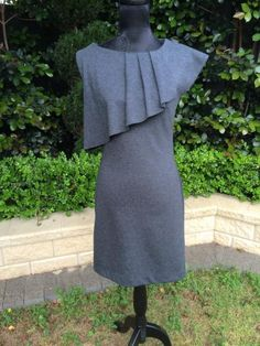 Round She Goes - Market Place - OJAY Charcoal ruffled ponte shift dress Sz 8