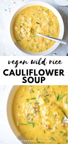 This creamy cauliflower wild rice soup is made with cauliflower, carrots and nutritional yeast for an extra flavourful, cheesy and healthy twist on wild rice soup. It's vegan and gluten-free, high in protein and fibre, easy to make and tastes incredible. #runningonrealfood #wildricesoup #cauliflower #vegan