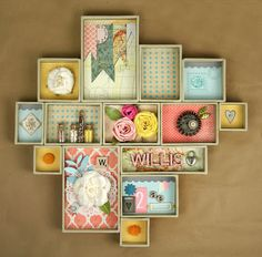 Shadow box is a box where you keep many memories there. To decorate it we have many variant shadow box ideas that could make it more interesting. Diy And Crafts, Arts And Crafts, Paper Crafts, Shadow Box Kunst, Ideas Dormitorios, Diy Shadow Box, Creation Deco, Altered Boxes, Altered Art