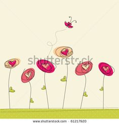 Greeting card with doodle flowers and butterfly by irur, via ShutterStock