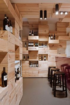 Contemporary Wood Furniture Wall Showroom classy wine Design