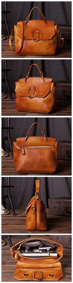Handcrafted Women Modern Fashion Leather Tote Bag Handbag Shoulder Bag Messenger C204 Overview: Design: Vintage Vegetable Tanned Leather Tote In Stock: 4-5 days For Making Include: Only Tote Bag Color