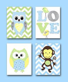 Monkey Nursery Owl Nursery Giraffe baby Nursery room decor idea kids wall art