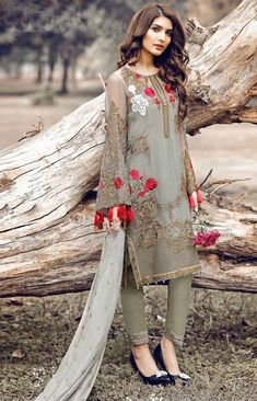 Grey Georgette #NarrowPant Suit with Dupatta - Pakistani Fashion