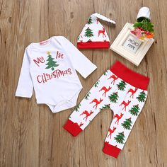 Autumn 2017 Christmas Baby girl Outfits Tops Cotton Long sleeves Romper +Pants +Hat 3 pcs Clothes Set #ChristmasOutfit