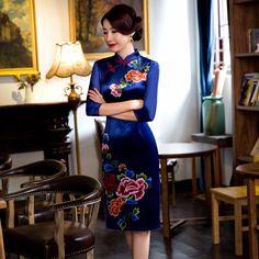 Fengmeisi chinese cheongsam short qipao velvet print slim vintage women oriental dresses tradicional party weeding dress P3530