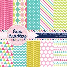 Cupcakes and Cocktails Party Digital Papers Personal & Commercial Use Patterned Paper Pack Instant Download
