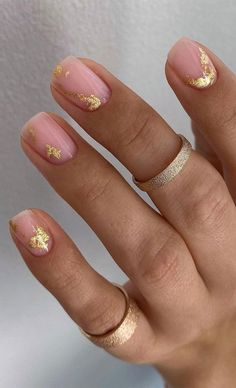 Cute Nail Art Design Ideas With Pretty & Creative Details : Nude Pink with Gold Foil