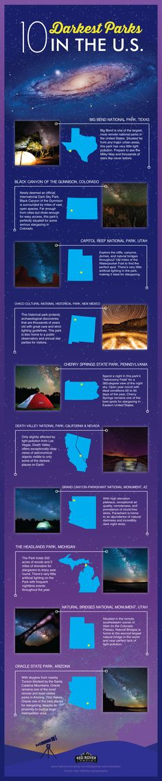 Want to go stargazing in U.S. national parks? Check out the 10 darkest parks. Be sure to check the night sky when you visit a national park.