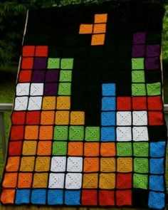Tetris granny square afghan