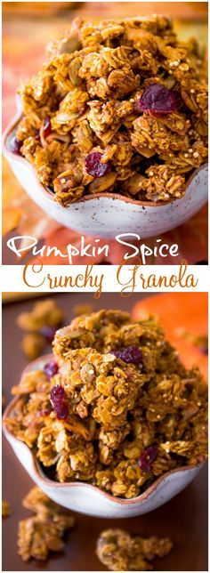 super crunchy and flavorful pumpkin spiced granola. This stuff is SO good!A super crunchy and flavorful pumpkin spiced granola. This stuff is SO good! Pumpkin Granola, Pumpkin Spice, Pumpkin Puree, Pumpkin Recipes, Fall Recipes, Brunch Recipes, Breakfast Recipes, Drink Recipes, Planning Menu