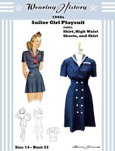 Reproduction 1940s Sailor Girl Pin Up Playsuit by WearingHistory