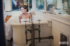 In a tub in your wedding gown   Rebecca Arthurs Photography