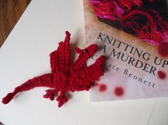 Free: Dragon Bookmark and Murder Mystery Book - Fiction Books Crochet Dragon Pattern, Crochet Motif Patterns, Murder Mystery Books, Crochet Bookmarks, Knitted Flowers, Fiction Books, Crocheting, Knit Crochet, Crochet Necklace