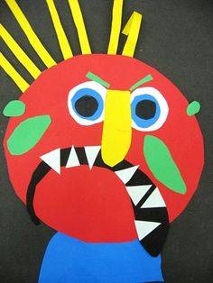 After Reading Glad Monster, Sad Monster by Anne Miranda and Ed Emberley, the first grade created these monster, mask collages reflecting their mood. The little monsters reviewed shape, cutting, and gluing, learned about tints and shades, and discovered how to use a compass. They will use these for their Monsterade Ball. Fantastic Job First Grade!!!