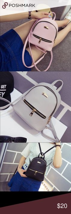 small backpack  grey, black, or pink Leather  mini backpack 19*20*11 Bags Backpacks