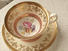 Antique bone china tea cup and saucer set Vintage by ShoponSherman, $69.00