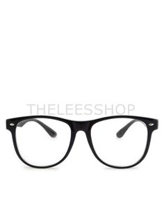 95937104fe2 (IHSJ1151-BLACK) Unisex Mens Womens Clear Lens Plastic Frame Eyewear Fashion  Glasses