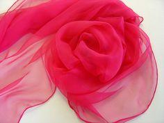 Geschenke für Frauen - Seidenschal 230 cm fuchsia Chiffonschal Stola - ein Designerstück von textilkreativhof bei DaWanda