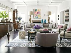 :: Havens South Designs :: likes the mix of style and patterns in this basically neutral room.