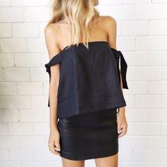 SIR The Label Kobi Linen Strapless Top - Black