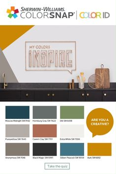 What's your Color ID? Take the quiz to find a color palette that matches your unique personality. If you see every space as a canvas waiting to be filled, you're probably a Creative. Interior Paint Colors For Living Room, Paint Colors For Home, House Colors, Living Room Decor, Interior Colors, Living Rooms, Johor Bahru, Paint Color Schemes, Home Color Schemes