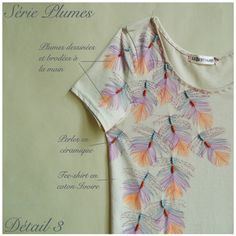 Tee-shirt coton ivoire peint et brodé à la main, by Le Bestiaire