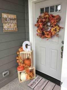 These cheap and easy fall porch ideas will give your front porch a cozy and inviting makeover. From diy fall porch signs to fall porch planters there are plenty of ideas for inspiration for how to decorate your porch with . Fall Home Decor, Autumn Home, Front Porch Fall Decor, Fall Porches, Fall Porch Decorations, Diy Front Porch Ideas, Fal Decor, Fall Yard Decor, Fall Front Doors