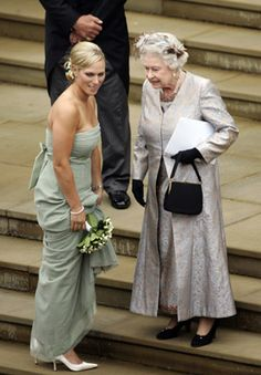 The Queen with her granddaughter Zara Phillips at her brother Peter's wedding, 2008.