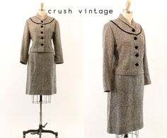 40s Wool Suit S / 1940s Boxy Suit Set / The Swiss by CrushVintage, $126.00