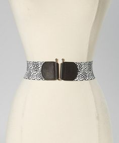 Black & White Floral Reversible Stretch Belt by Betsey Johnson #zulily #zulilyfinds