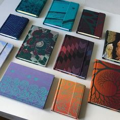Here are some new notebooks Baby Wrap Carrier, Small Notebook, Woven Wrap, Lined Page, Journal Covers, Bookbinding, Binder, Notebooks, Hand Sewing