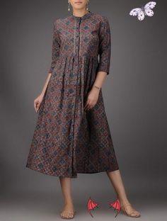 Buy  Online at Jaypore.com Indigo-Red Ajrakh-printed Cotton Dress with Gathers<br> Kurta Designs, Simple Kurti Designs, Blouse Designs, Modest Outfits, Casual Dresses, Fashion Dresses, Kurta Style, Short Frocks, Pakistani Fashion Casual