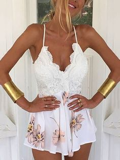 Sexy Printed Lace Patchwork Backless Plunge Romper