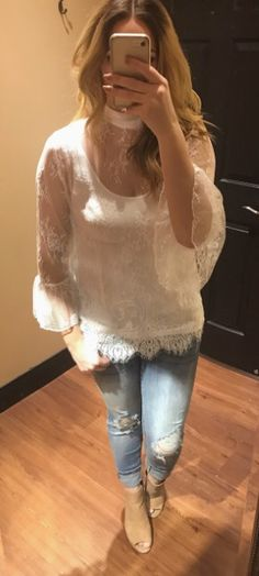 LACE & DISTRESSED DENIM Top |$39| Denim |$59| Shoes |$46| #apricotlane #apricotlanebismarck #newarrival #white #lace #womenstyle #style #distressedjeans #musthave #ruffle