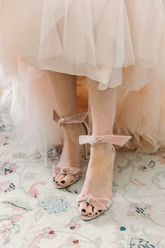 """Aly was a blushing bride from head to toe, including her pale pink crushed velvet """"Clarita"""" shoes from Alexandre Birman. """"These seemed like they were made to go with my dress! Bridal Musings, Blush Wedding Shoes, Floral Event Design, Martha Stewart Weddings, Bride Shoes, City Style, Crushed Velvet, Wedding Blog, Wedding Ideas"""